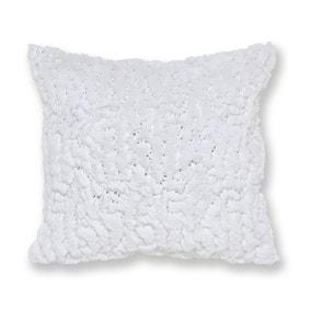 Faux Fur White Sequin Cushion