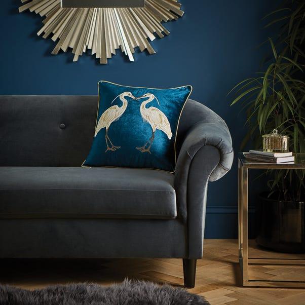 Teal Heron Cushion Teal (Blue)