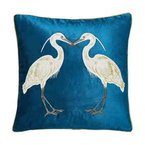 Teal Heron Cushion
