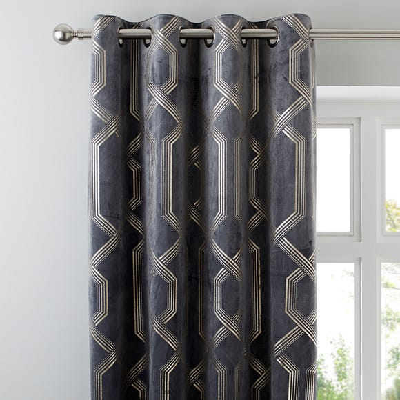5A Fifth Avenue Bergen Charcoal Velour Eyelet Curtains  undefined