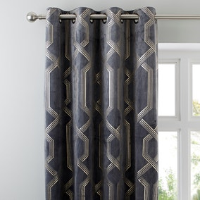 5A Fifth Avenue Bergen Charcoal Velour Eyelet Curtains