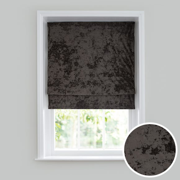Crushed Velour Charcoal 3ft Roman Blind Charcoal undefined