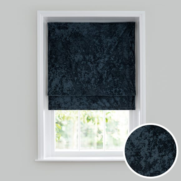 Crushed Velour Blue Roman Blind  undefined