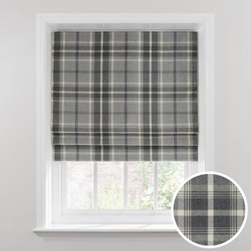 Highland Check Dove Grey Blackout Roman Blind