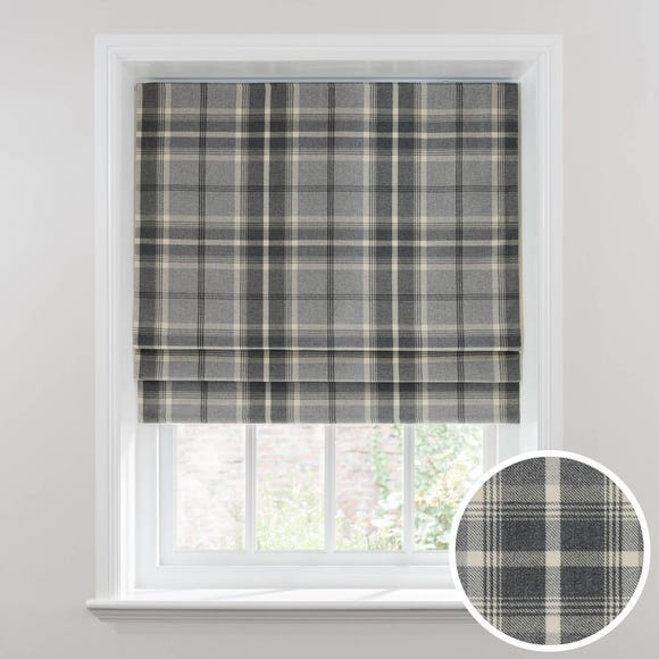 Highland Check Dove Grey Blackout Roman Blind  undefined