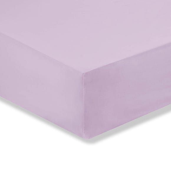 Kids Non Iron Plain Dye Lilac Cot Bed Fitted Sheet