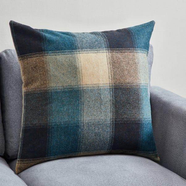 Large Blue Hamilton Check Cushion Blue