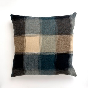 Large Blue Heritage Check Cushion