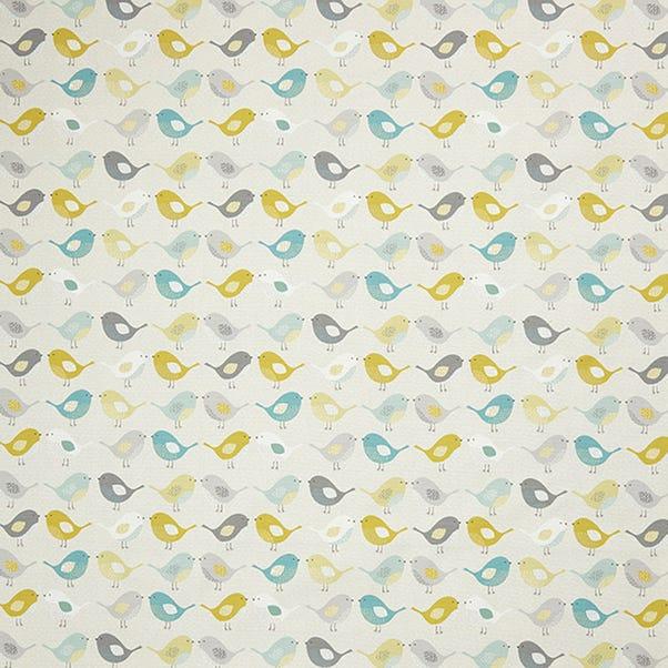Ochre Scandi Birds Fabric Ochre