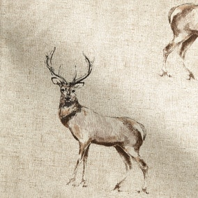 Spey Deers Natural Cotton Fabric