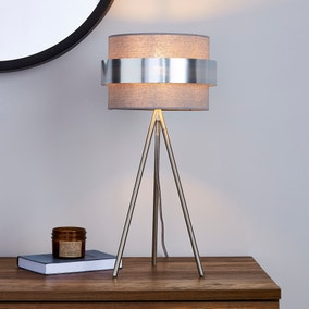 Joey Tripod Grey Table Lamp