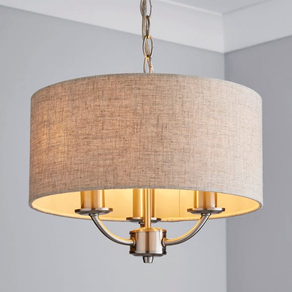 Preston 3 Shaded Steel Ceiling Fitting Natural