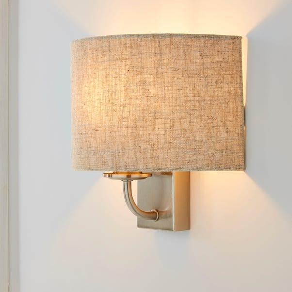 Preston Ivory Linen Shaded Wall Light Natural