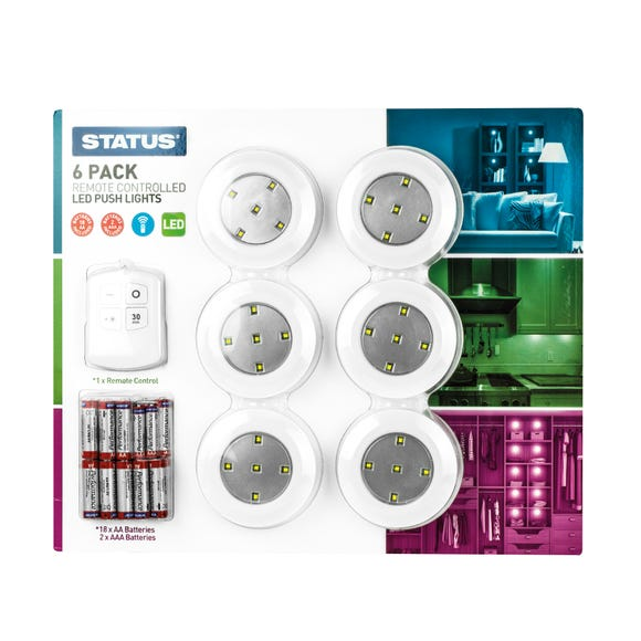 LED 6 Pack Lighting Kit with Remote Control White