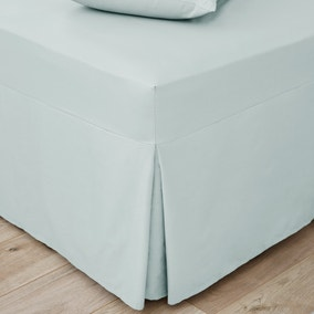 Easycare Plain Dye 100% Cotton 180 Thread Count Duck Egg Blue Pleated Fitted Valance