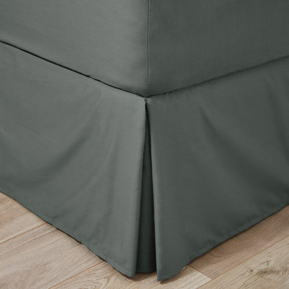 Easycare Plain Dye 100% Cotton 180 Thread Count Graphite Pleated Valance  undefined
