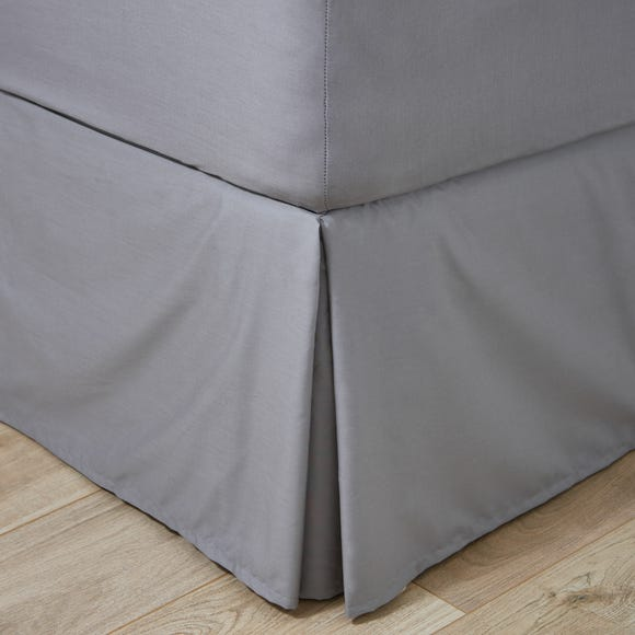 Easycare Plain Dye 100% Cotton 180 Thread Count Dove Grey Pleated Valance  undefined