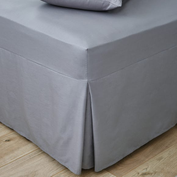 Easycare Plain Dye 100% Cotton 180 Thread Count Dove Grey Pleated Fitted Valance  undefined