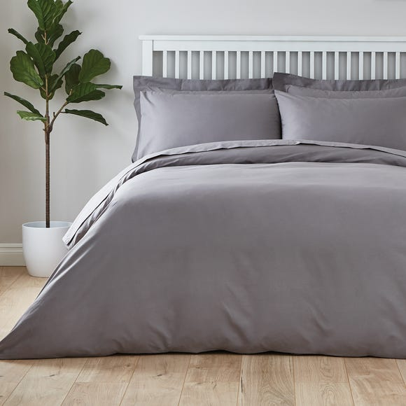Easycare Plain Dye 100% Cotton Dove Grey Duvet Cover Dove (Grey) undefined
