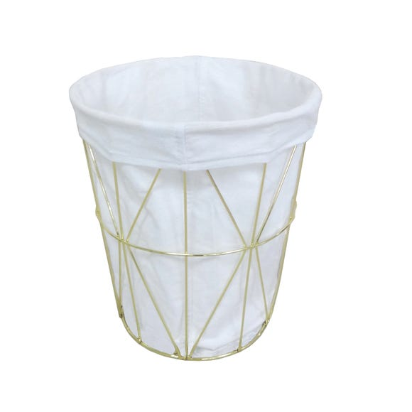 Deco Charm Gold Wire Waste Bin Gold