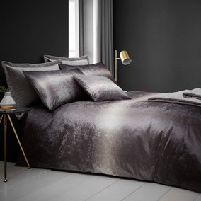 Valentina Crushed Velvet Silver Duvet Cover and Pillowcase Set
