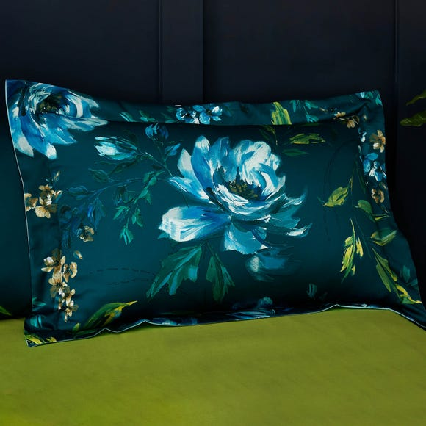 Charm Floral Teal Oxford Pillowcase Teal (Blue)