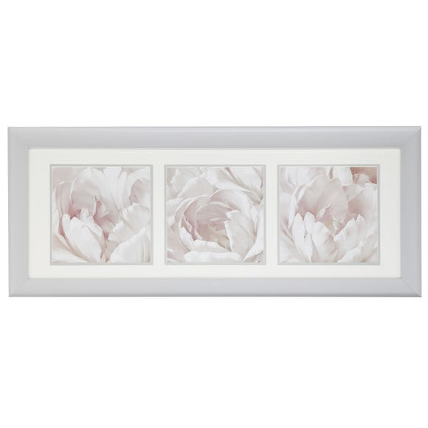 Triple Floral Framed Print Multi Coloured