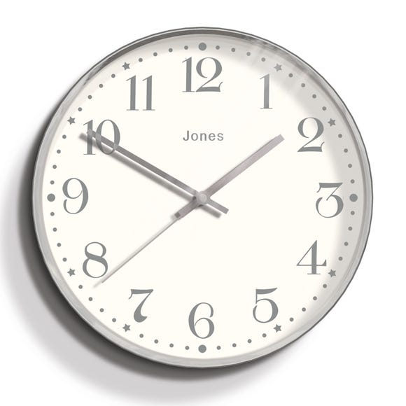 Jones Penny 30cm Wall Clock Grey Silver