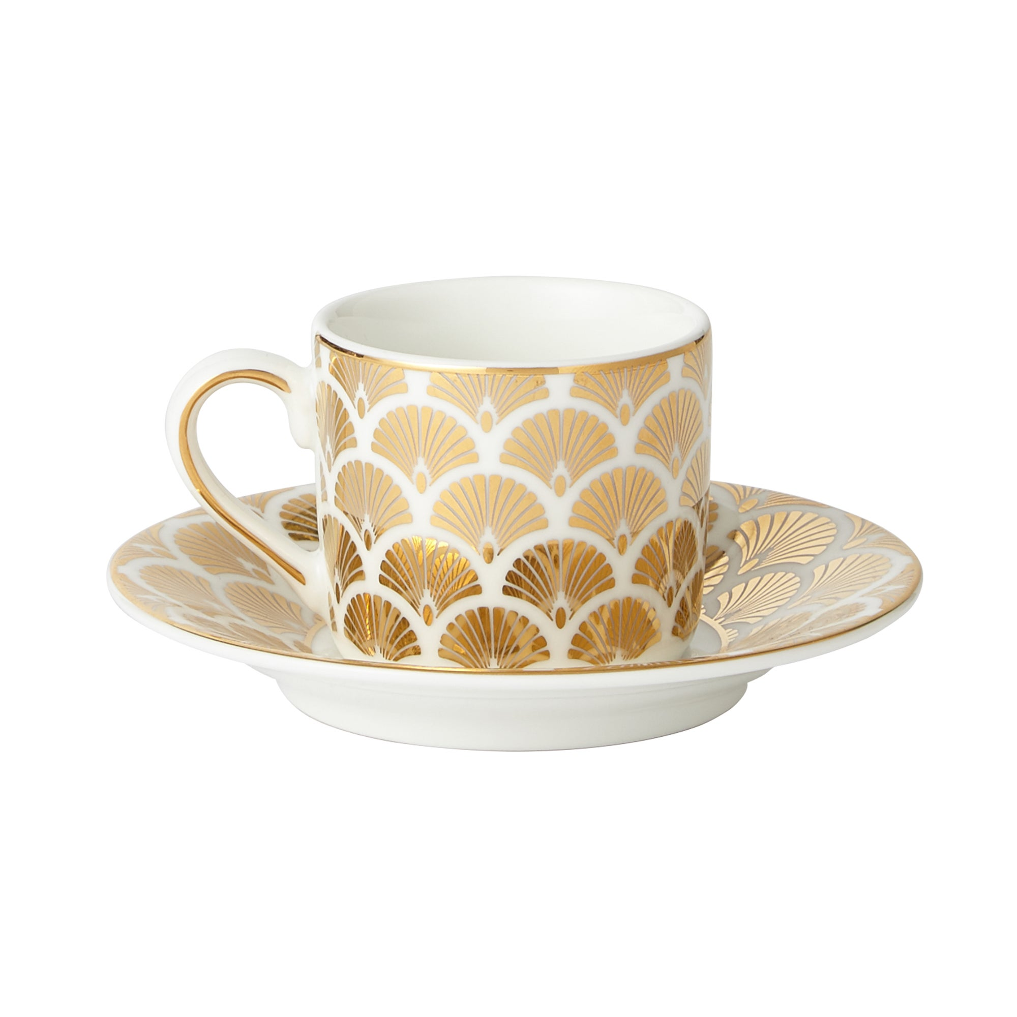 5A Fifth Avenue Bergen Gold Pack of 2 Espresso Cup and Saucer Gold