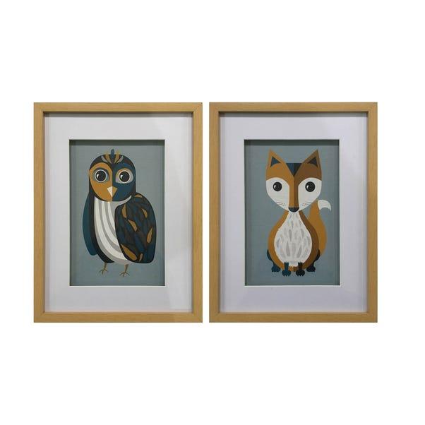 Elements Set of 2 Animal Framed Prints Multi Coloured