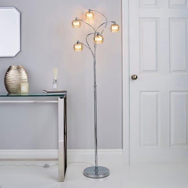 Seychelles 5 Light Smoked Glass Floor Lamp Silver