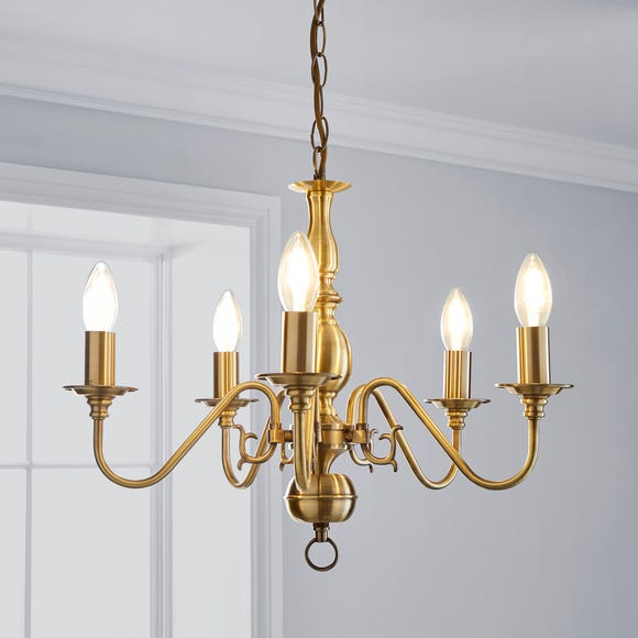 Augusta 5 Light Antique Brass Candelabra Ceiling Fitting Antique Brass