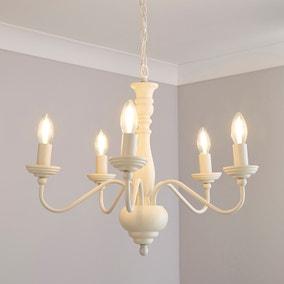 Alosno 5 Light Candelabra White Ceiling Fitting