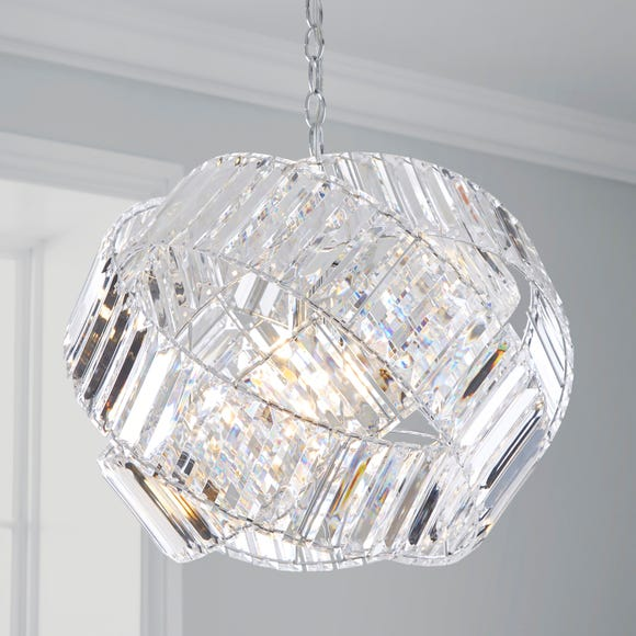 Monsanto 1 Light Pendant Jewel Chrome Ceiling Fitting Silver