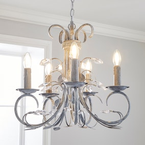 Annecy 5 Light Candelabra Grey Jewel Ceiling Fitting