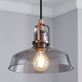 Suva Industrial 1 Light Pendant Smoked Glass Ceiling Fitting
