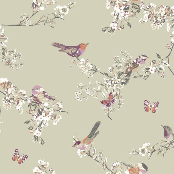 Beautiful Birds Sage Fabric