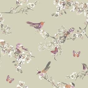 Beautiful Birds Sage Fabric