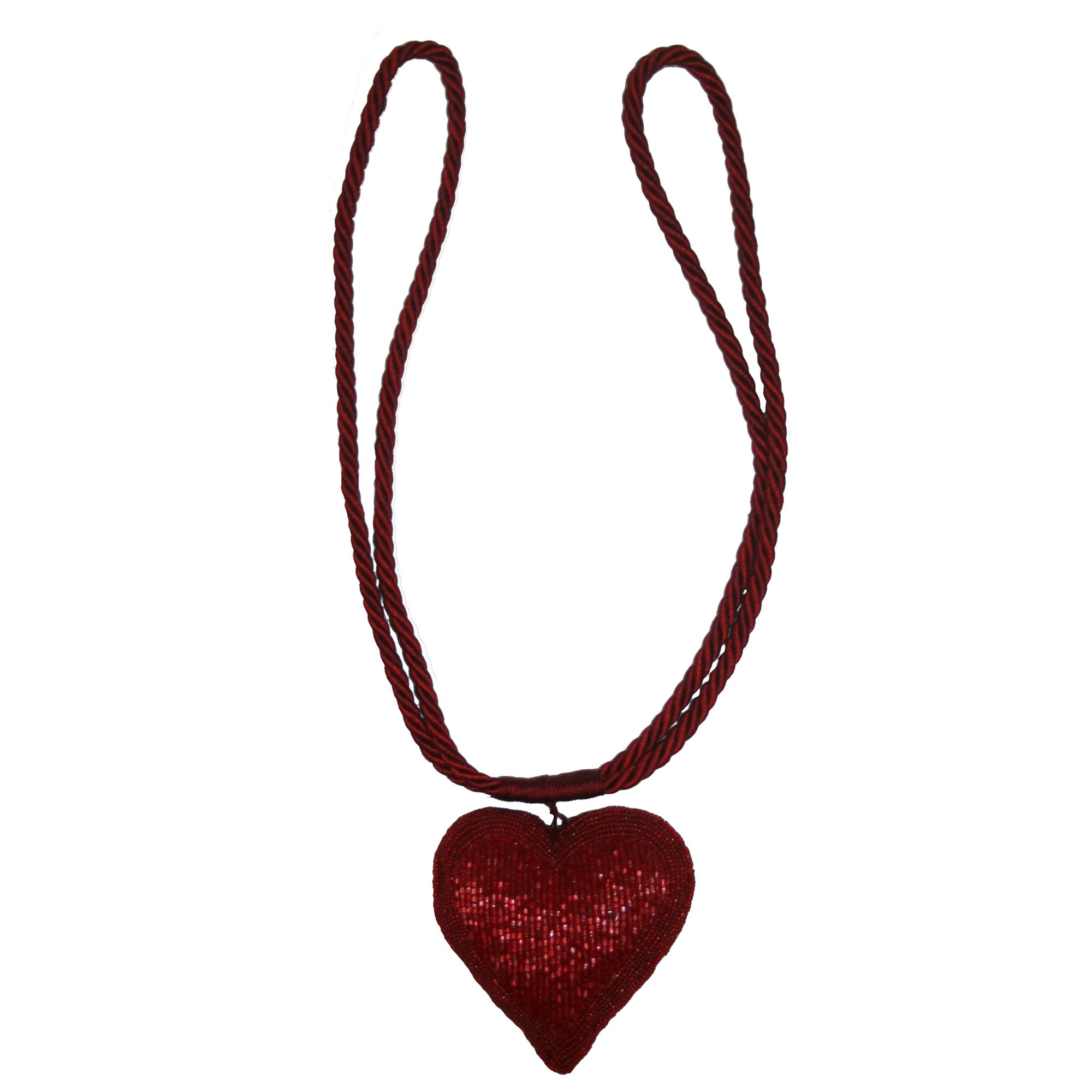 Photo of Red beaded heart tieback red