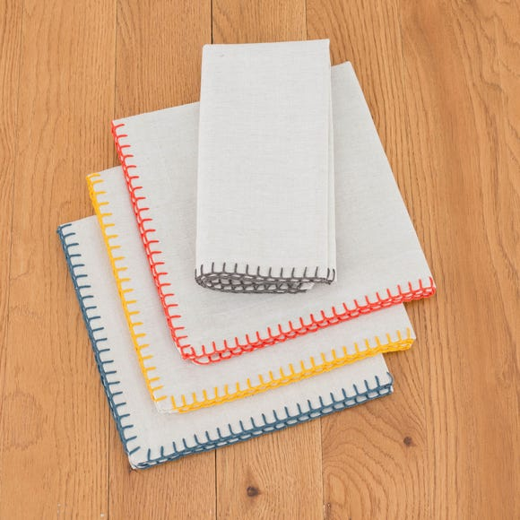 Elements Pack of 4 Coloured Stitch Napkins MultiColoured