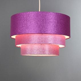3 Tier Pink Glitter Pendant Shade