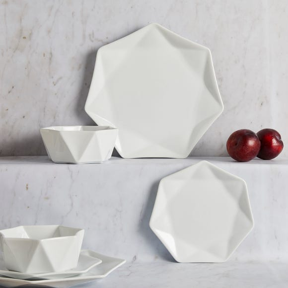 Elements White 12 Piece Quartz Dinner Set White