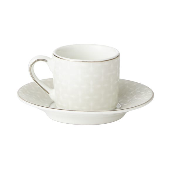 5A Fifth Avenue Grace Silver Pack of 2 Espresso Cup and Saucer White