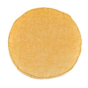 Chenille Round Ochre Cushion