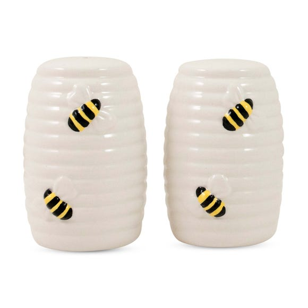 Bee Salt & Pepper Pots White