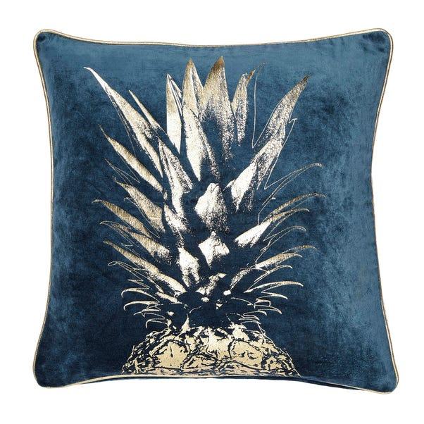 Pineapple Foil Cushion Teal (Blue)
