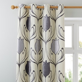 Lalique Charcoal Eyelet Curtains
