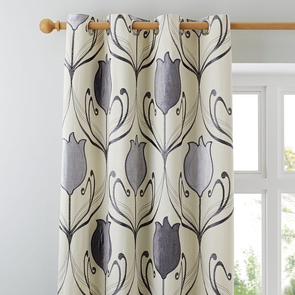 Lalique Charcoal Eyelet Curtains  undefined