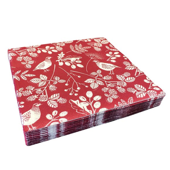 Woodland Red Bird Print Pack of 20 Napkins Red
