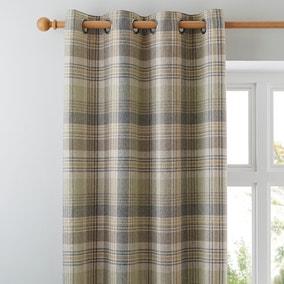 Finley Check Green Eyelet Curtains
